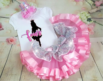 Birthday Girl tutu Outfit- Includes personalized top and ruffle tutu Available in colors to match your event