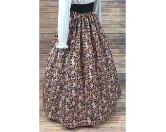 Skirt and Sash - Renaissance Civil War Victorian Southern Belle LARP Cosplay Dickensonian Pioneer - pink floral - dress costume