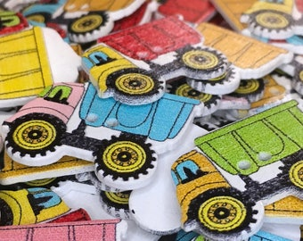 6 Colourful Truck, Lorry Wooden Painted Buttons, Transport, Kids