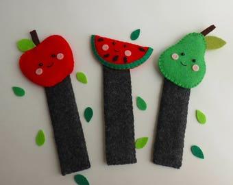 Felt bookmark-Felt fruits-Little readers gift-Pear bookmark-Apple bookmark-Watermelon bookmark-back to school gift