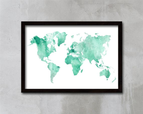Turquoise world map art world map poster wall art home like this item sciox Images