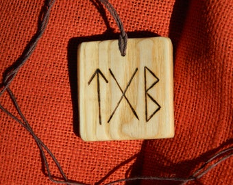 "Wooden Rune-bind talisman ""Love and Harmony"" pyrography hand made Asatru Wicca Pagan Elder FUTHARK"