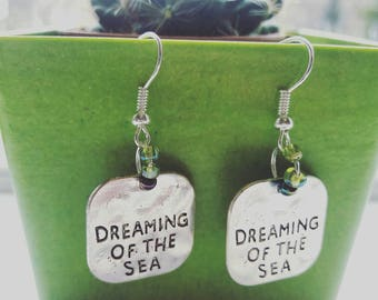 Dreaming of the Sea hand stamped and beaded dangle earrings