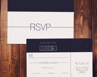 Navy Modern RSVP Postcard - Customizable