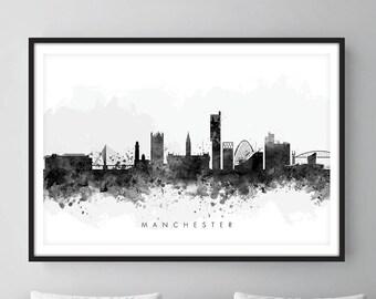 Manchester Skyline, Manchester England Cityscape England, Art Print, Wall Art, Watercolor, Watercolour Art Decor [SWMAN05]