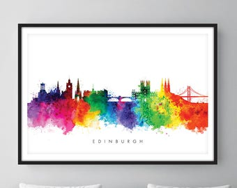 Edinburgh Skyline, Edinburgh Scotland Cityscape Art Print, Wall Art, Watercolor, Watercolour Art Decor [SWEDI01]