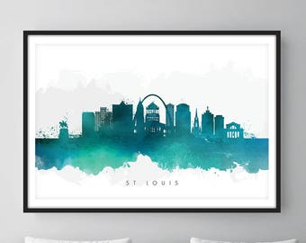 St Louis Skyline, St Louis Missouri Cityscape Art Print, Wall Art, Watercolor, Watercolour Art Decor
