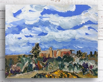 Taos Adobe, original painting, Kristin Gibson, New Mexico, southwest art, impressionist painting, small painting, travel gifts, landscape