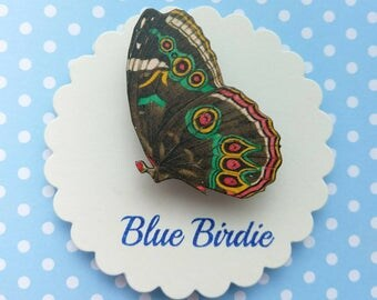 Butterfly brooch black green butterfly pin brooch gifts for her butterfly jewlery insect jewelry nature jewelry butterfly brooch pin