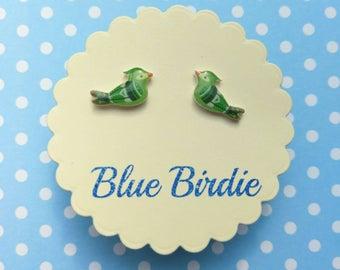 Tiny green bird earrings bird jewellery bird jewelry bird stud earrings small bird earrings cute bird jewellery bird earrings green birds