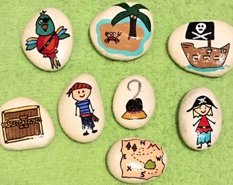 Story Stones --Pirate Theme-- 8 Piece Set --Learning, Imagination & Play-- Painted Rocks