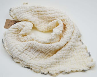 Gauze cloth of organic cotton, scarf, burp cloth, cloth diaper, baby, Preemie, cream muslin, children, girl, boy, beige, natural