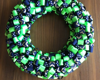 Lime Green with Navy Wreath