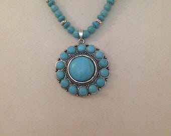 Handcrafted turquoise beaded necklace plus free gift