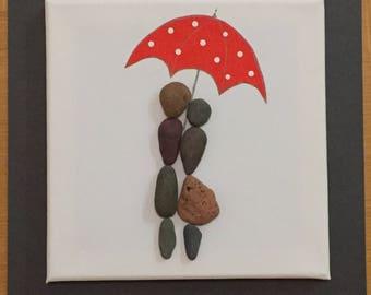 Couple in The Rain with umbrella Pebble Art Canvas Picture