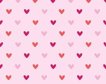Pink heart fabric felt