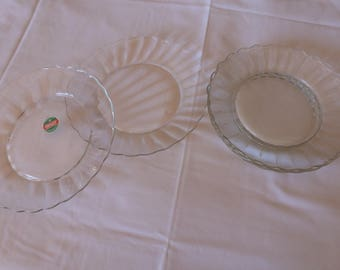 Dessert glass plates / plates to desserts Duralex / tableware / old dishes / plates in tempered glass / Vintage en
