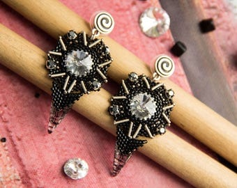 Black Silver Spikes Earrings