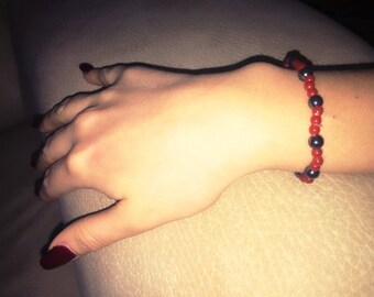 Coral Hematite bracelet