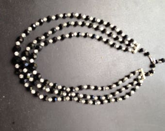Sophisticated 3-Layer Beaded Necklace-- Vintage, Black and White