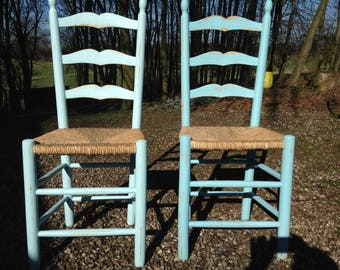 Chair, House Chair, wood Chair, Sgtuhl Reed, turquoise, Shabbychic, shabby, kitchen Chair, Dekostuhl, garden chair