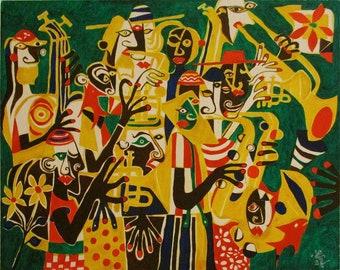 Modern Art  original oil painting ' Jamboree Jazz 'by Alfred Halliday Art