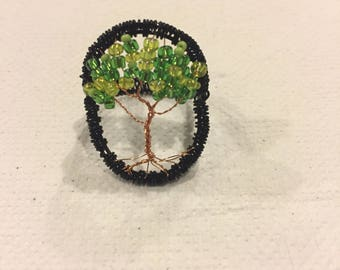 Wire and beaded tree ring