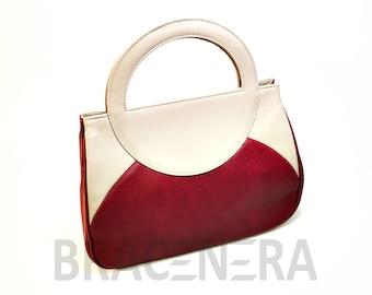 Genuine leather bag Burgundy and beige. Art. BP-1006