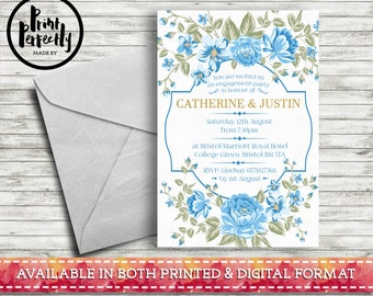 Elegant Blue Floral Frame - Luxury Customised Engagement Party Invitations (Printed & Digital)