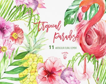Tropical clip art , Tropical Floral Clipart  flamingo clipart,  Summer Flowers png, pineapple , tropical clip art , Watercolor cliparts