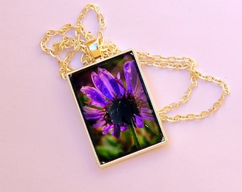 Jewelry, pendant, wearable art, nature necklace, purple daisy, unique handmade jewelry, flower jewelry, photography by The Poetry of Nature