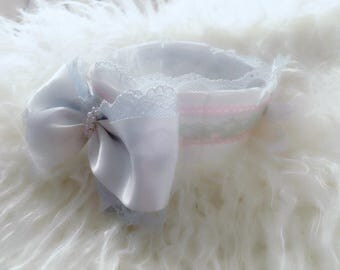 DDLG/DDLB/BDSM/Kitten Play Collar/Choker; Pearls, Bows, Ribbons, and Bell; Daddy's Girl, Daddy's Boy, Kink, Pet Play Collar