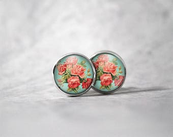 Earrings 12 mm cabochon / flowers