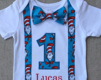 Dr. Seuss Cat in the Hat First Birthday Bodysuit with Suspenders and Bow Tie, Dr. Seuss First Birthday