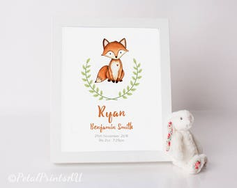 WOODLAND FOX Nursery/Playroom Printable Wall Art