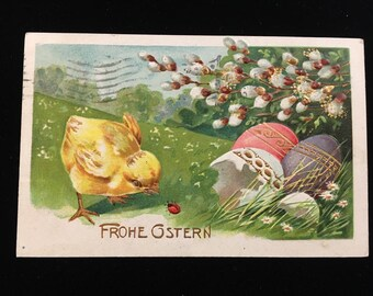"""German Easter Vintage Embossed Postcard - """"Frohe Ostern"""" with a Baby Chick, Eggs & a Ladybug - 1908"""