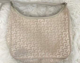 Vintage 1980's Pierre Cardin Handbag Purse with Cream Brocade, With Original Tag, Made in The USA