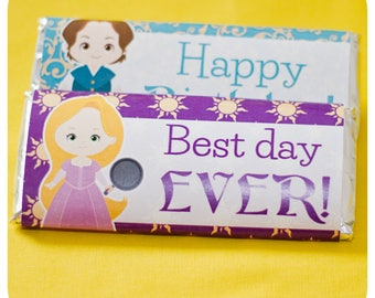 Tangled; Tangled Candy Bar Wrappers; Tangled; Tangled Party; Tangled Birthday Party; Tangled Decor Printed, Cut, and Shipped to you