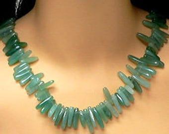 Aventurine Needle-line Gemstone Necklace