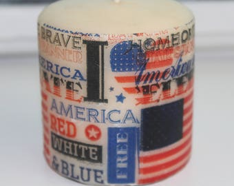 Patriotic Red White and Blue Image Candle for Fourth of July Summer Picnic Decor