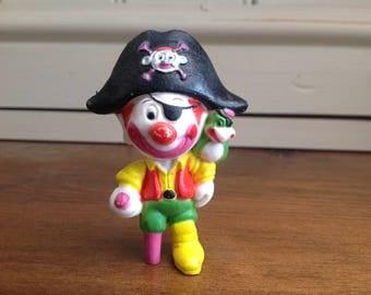 Vintage plastic clown around figure pirate 1981