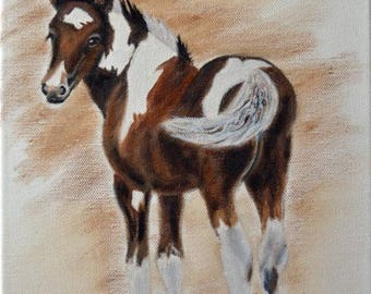 Gypsy filly, horse, handmade, oil on canvas