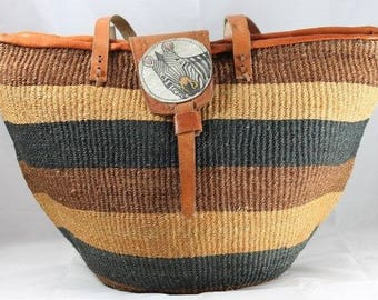 Natural African Organic Sisal Leather Tote Basket