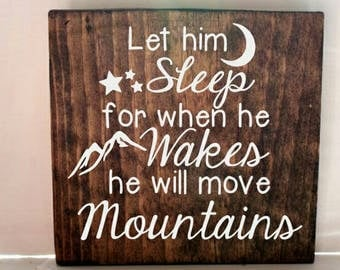 Let him sleep wood sign, nursery sign, boys room sign, baby gift, baby shower gift, baby boy room, rustic nursery
