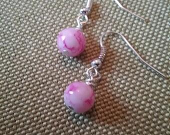 Pink Marbled Dangle Earrings