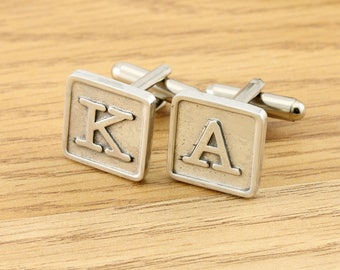 Monogrammed Tile Pewter Cufflinks for Men for Weddings Birthdays and all Special Occasions