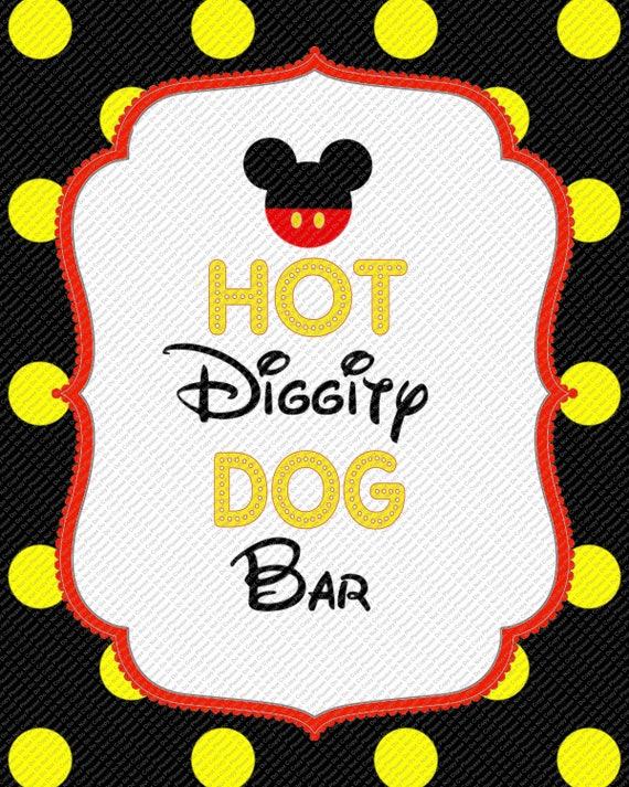 Hot Diggity Dog Bar Yellow Black Polka Dot Mickey Mouse