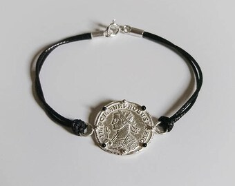 Black enamel bracelet silver coin Rome