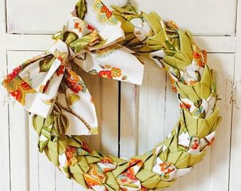 Folded Fabric Wreath, Petal Wreath, Spring Wreath, Summer Wreath, Swedish Braid Wreath, Colorful Fabric