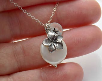 Plumeria Flower Necklace Sterling Silver Freshwater Coin Pearl Hawaiian Frangipani Flower Necklace Floral Spring Summer Jewelry Personalized